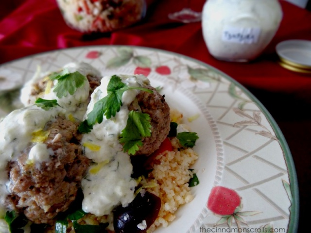 Greek Meatballs with Homemade Tzatziki & Mediterranean Couscous | thecinnamonscrolls.com | @cinnamonscribe