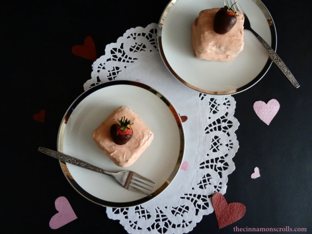 Mini Chocolate Fudge Cakes with Strawberry Cream Cheese Frosting